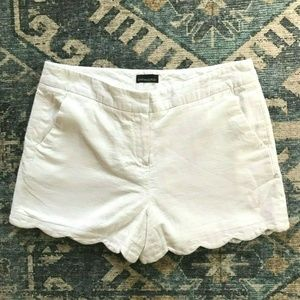 Scalloped White Linen Shorts with Satin Lining